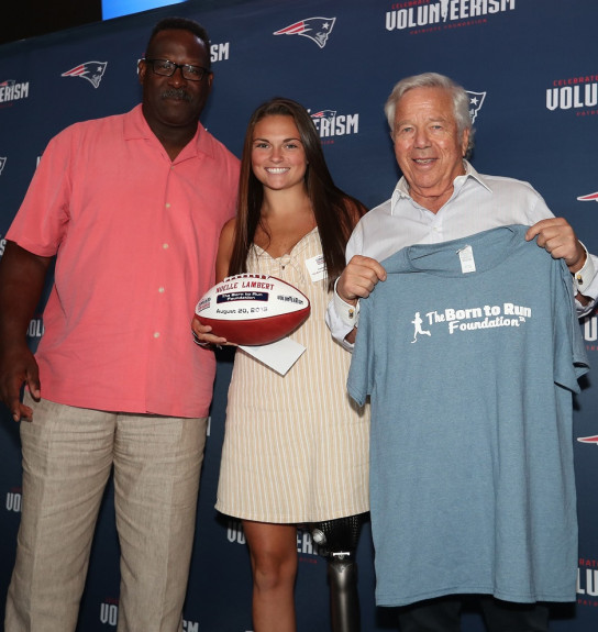 Patriots honor UMass Lowell's Noelle Lambert for work with amputees