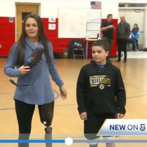 Foundation presents 9-year-old with prosthesis donation
